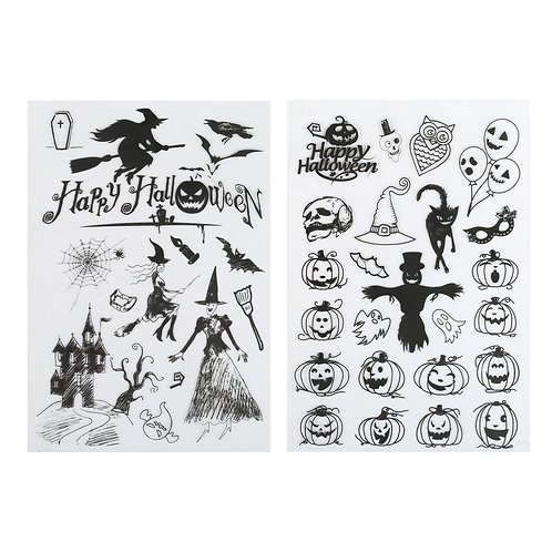 Kesote Halloween Clear Stamps Transparent DIY Silicone Seal Pumpkin, Bat, Ghost
