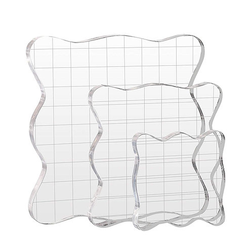 Kesote Stamp Block, 3 Pieces Acrylic Blocks Stamp Set with Grid Lines for Scrapb