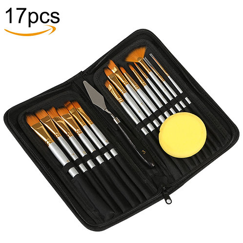 Kesote Paint Brush Set - 15 Different Shapes & Sizes - FREE Painting Knife & Wat