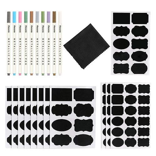 Kesote Chalkboard Labels-128 Reusable Chalkboard Sticker+ Erasable Marker Pen S