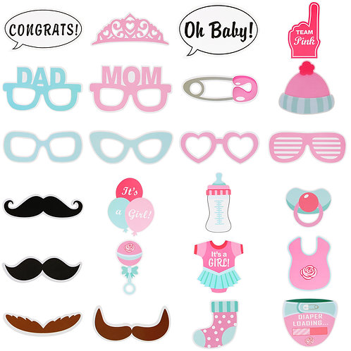 Kesote 25PCS Photo Booth Props Baby Shower New Born Party