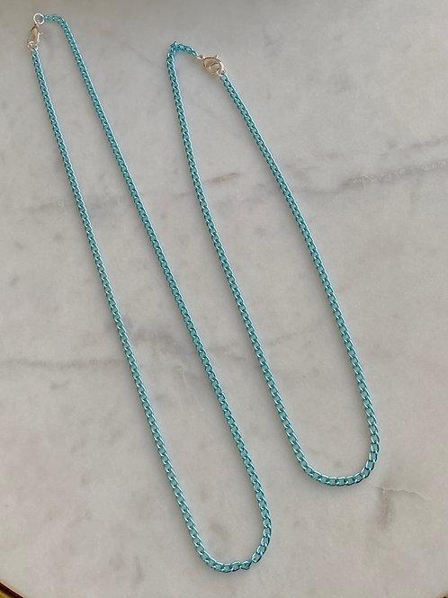 Colar corrente fina azul