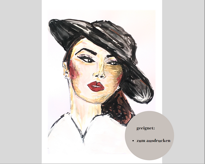 Digitaler Download - CLASSY LADY#2 - Aquarell - Portrait - Watercolor - Geschenk