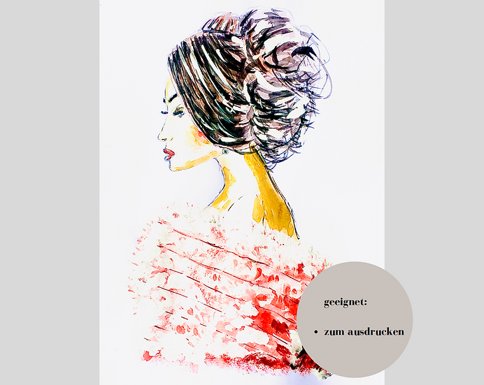 Digitaler Download - CLASSY LADY#3 - Aquarell - Portrait - Watercolor - Geschenk