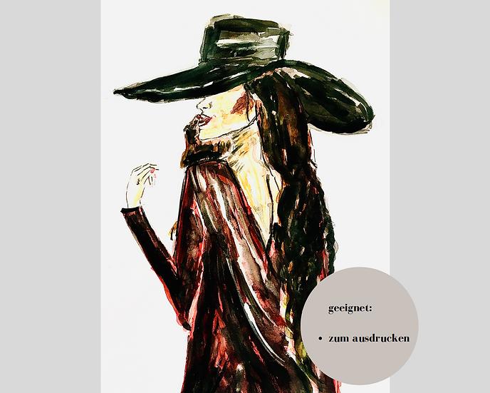 Digitaler Download - CLASSY LADY #4 -Aquarell - Portrait - Watercolor - Geschenk
