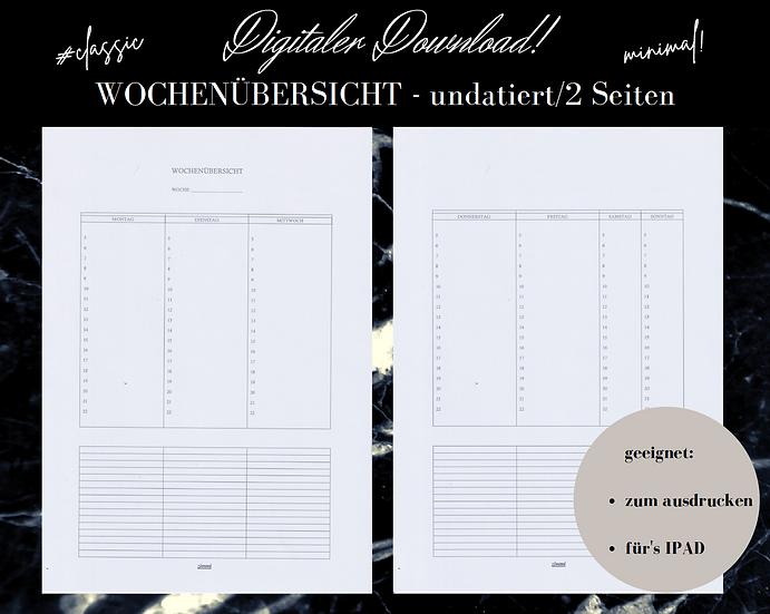Digitaler Download - WOCHENÜBERSICHT classic/undatiert/2 Seiten