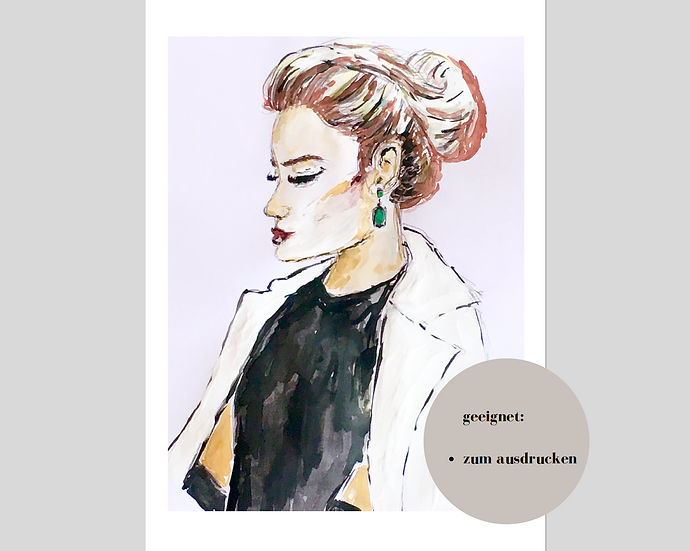 Digitaler Download - CLASSY LADY #1 - Aquarell - Portrait - Watercolor - Geschen