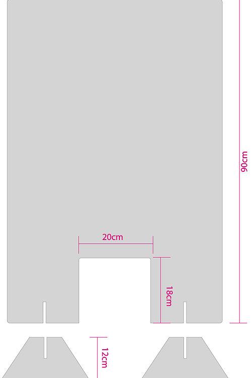 Tröpfchenschutz mit einer Durchreiche 60x90cm aus 8mm Plexiglas