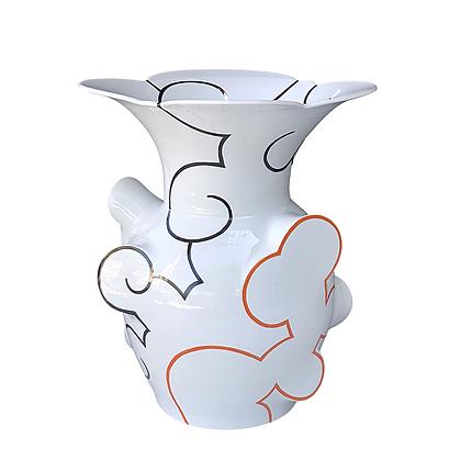 Flared Cloud Vase // Orange + Black
