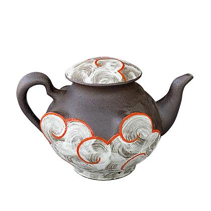Cloud Teapot // Stoneware + Orange