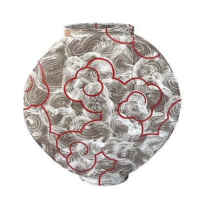 Cloud Moon Jar // LARGE / Stoneware + Red