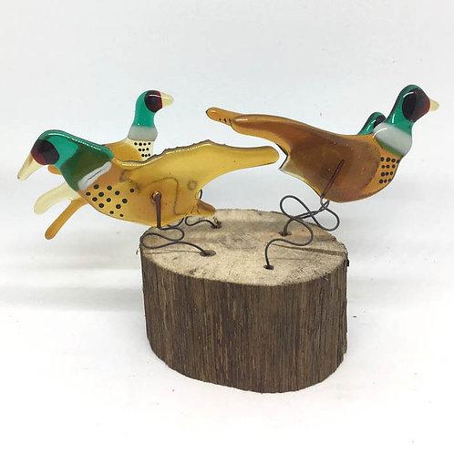 Pheasants! On Wood
