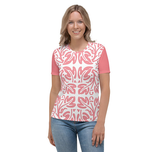 Women's Crew Neck T-shirt - Pink Floral