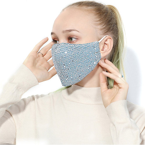 Fashion Cotton Sequin Mask Anti-Haze Shining Party Activated Carbon Windproof Mo