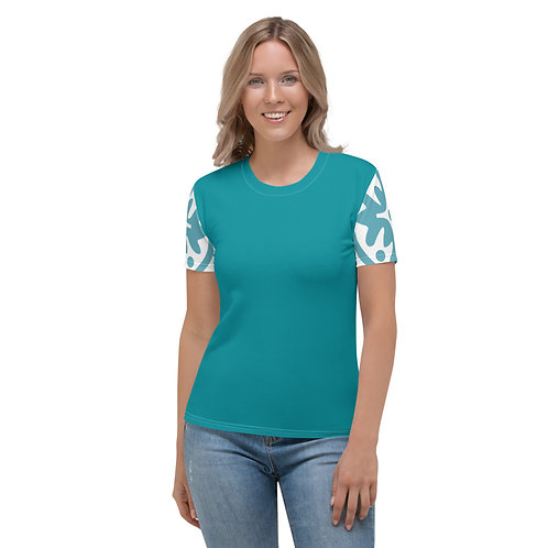 Women's Crew Neck T-shirt - Blue Medallion
