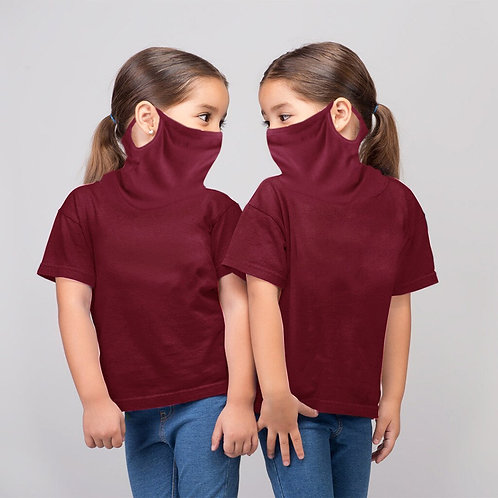 Girl's Shirt with Connected Face Mask