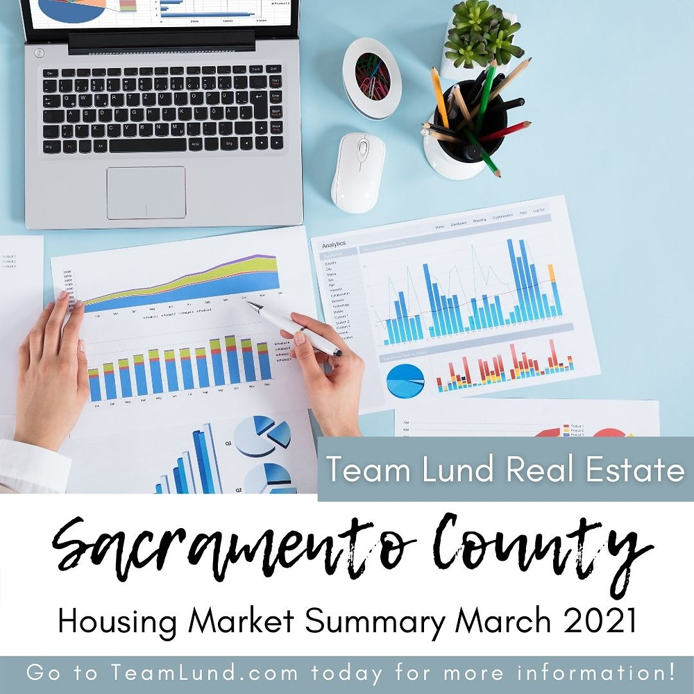 Desk with reports and laptop text on image reads Sacramento County Housing Market Summary March 2021