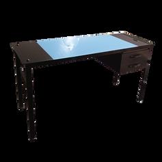 Escrivaninha de Vidro Azul com Gaveta