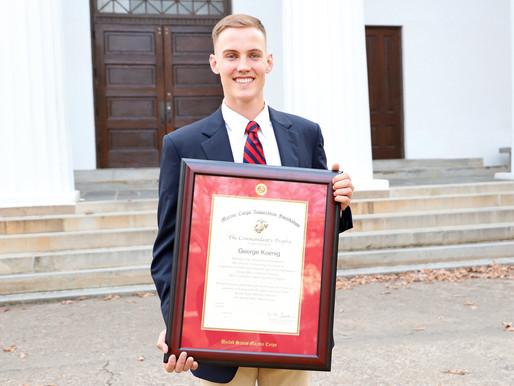 UGA senior earns top U.S. Marine Corps officer training award