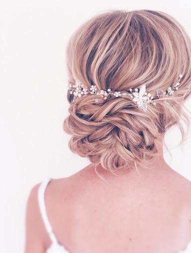 bridal up do, hair accessories, twisted bun