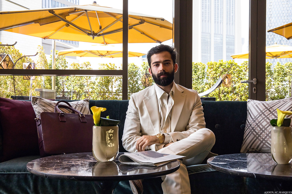 At the Four Seasons Hotel in DIFC - Off-White Suit and Shirt by Salvatore Ferragamo