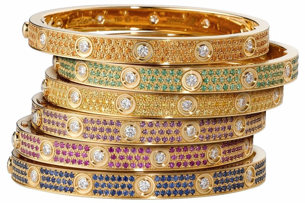 Cartier Love Bracelets in yellow gold, diamond and gemstones