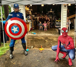 superhero driveway party