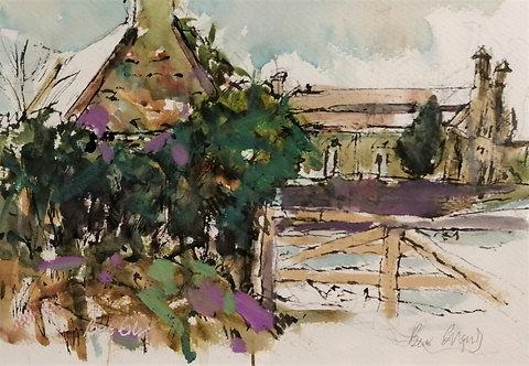 'Abbey Through the Gate' original watercolour painting