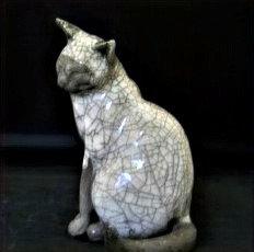 Medium Sitting Raku Cat