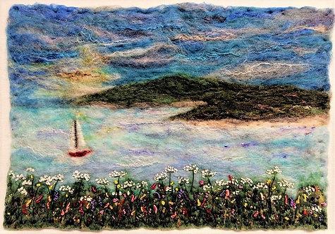 'Sailing Away' needle-felt and embroidery landscape