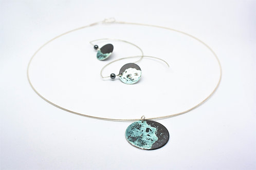 Lunar Eclipse Crescent Moon Pendant and Earrings