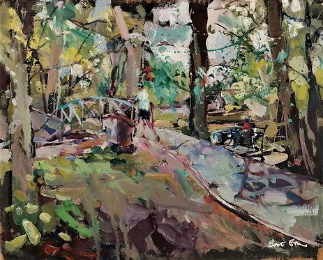 'Over the Bridge', unframed original painting