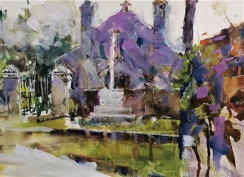 'Abbey Study' original gouache painting