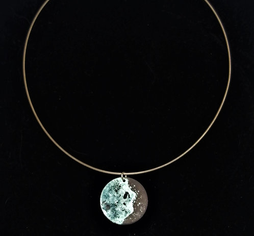 Large Blue Gibbous Moon Pendant Necklace