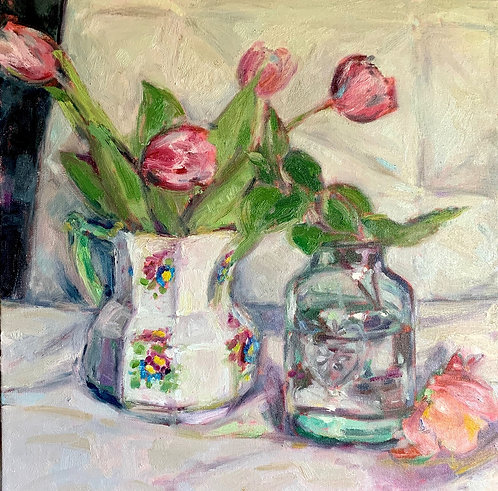 Swansea Pottery Jug with Fresh Tulips and Camellias