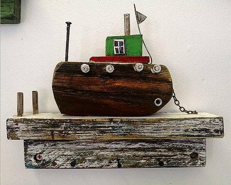 'Green Boat' wooden key holder