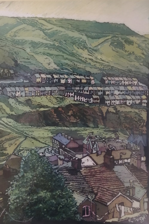'Welsh Valleys Portrait' Mounted Reproduction Print