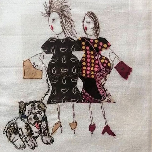 'Handbags and Gladrags'  machine embroidery