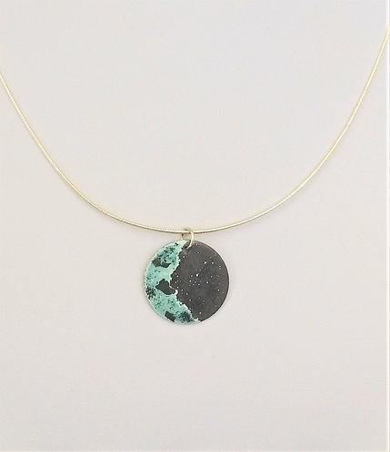 Small Blue Crescent Moon Pendant Necklace