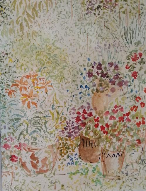 'Garden drawing lilies' Mounted original water colour