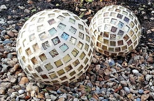 Golden Orb - mosaic garden ornament