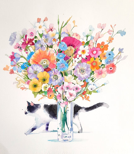 'Cat with the Vase of Flowers'