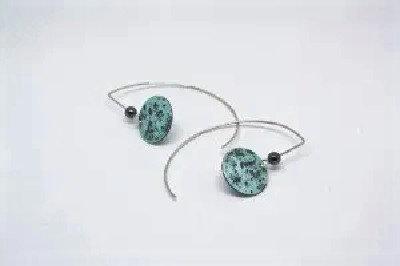 Long Stem Blue Full Moon Earrings