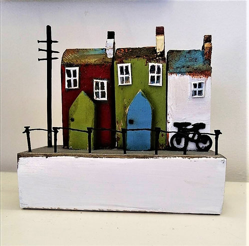 'Houses with Bicycle' wooden sculpture
