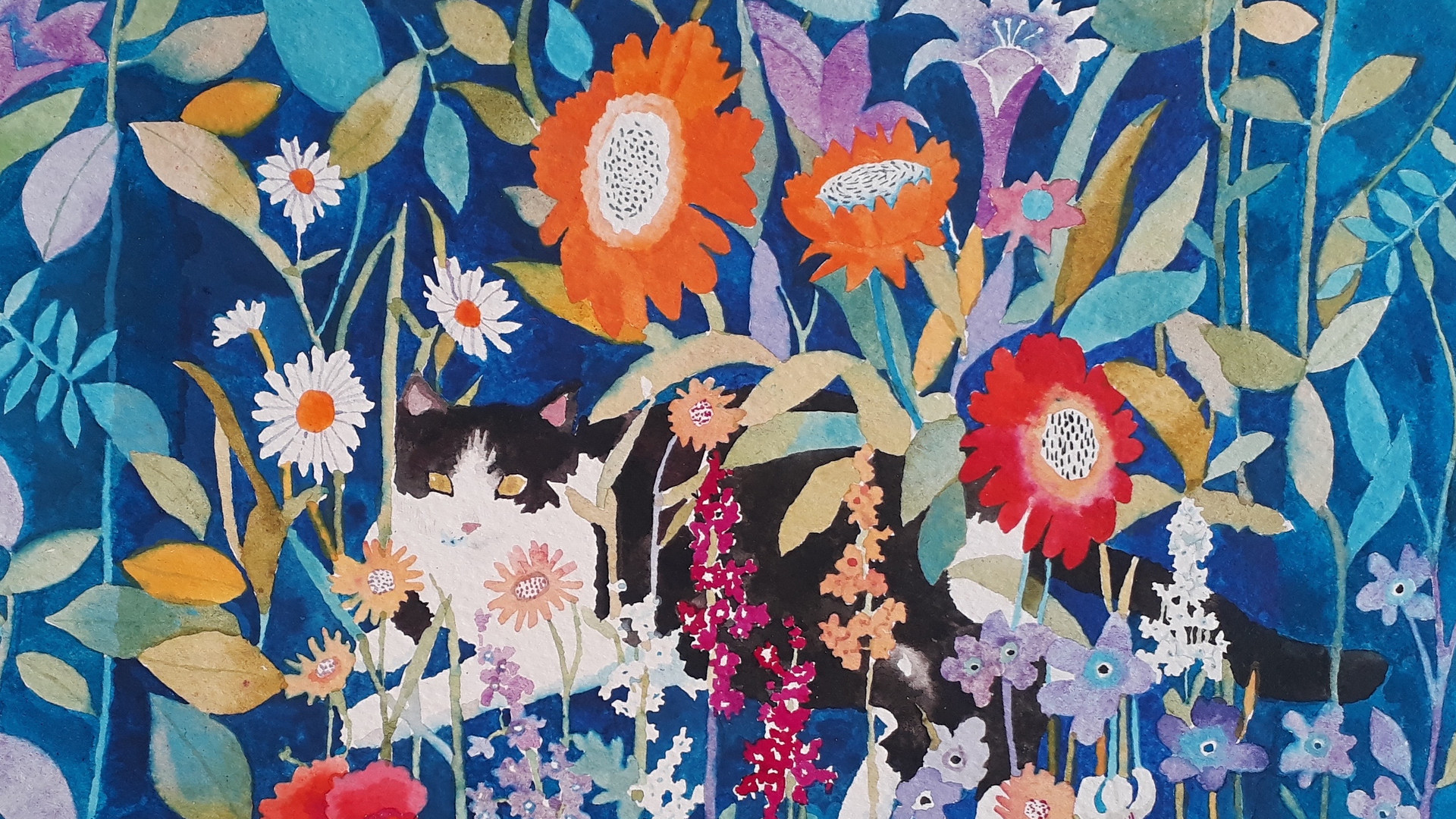 Cat in the flowers -A3 giclee print .jpg