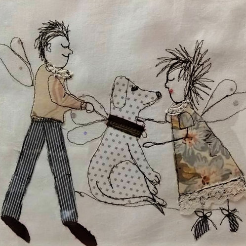 'Dog and Fairy' machine embroidery