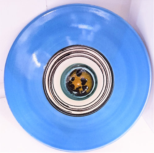 Turquoise Bowl with Green/Spot