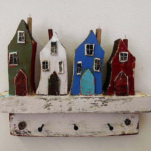'Harbour Houses' wooden key-holder