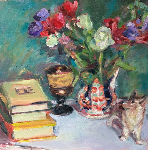 Still Life Books and Welsh Pottery
