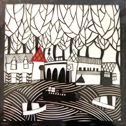 'The Sea' Mounted Paper cut